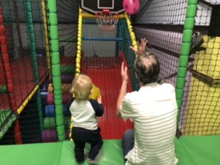 The soft play basketball net at Robbie Rascals play centre.