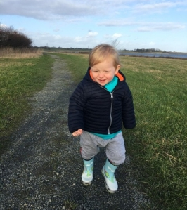 Taking a walk is a great way to entertain a toddler