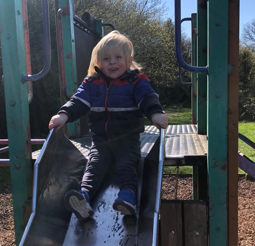 My Son playing on the slide at Pudney woods in Clacton-On-Sea